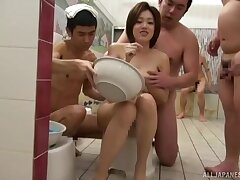 MILF from Tokyo gangbanged on cam with an increment of made nigh swallow