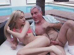 Old man penetrates stepdaughter for the sake she is too beautiful