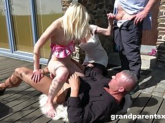 Uneasy women share and swap men in superb outdoor foursome