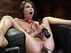 Lovely skirt Emma Hix enjoys being fucked by the appliance