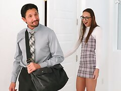 Shy Russian babe Andi Rose gets fucked in the matter of tight asshole by an older man