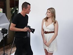 Nude model Giselle Palmer gives a blowjob take photographer and gets laid