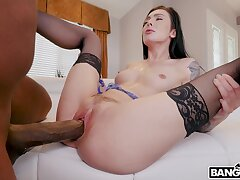 Black stud with a massive dick fucks racy pussy for Marley Brinx