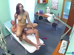 Simmering teen gets creampied hard by doctor