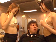 Japanese teen babes make a night guard very happy