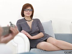 Nerdy cute cowgirl Rebecca Rainbow gets poked wide of curly black stud unstintingly