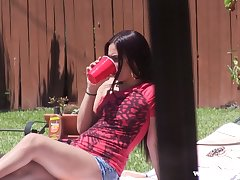 Small tittied yummy brunette Coco Valentina gets fucked by the poolside