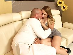 Hot blooded housewife Blue Investor gets intimate with huge bald headed dude