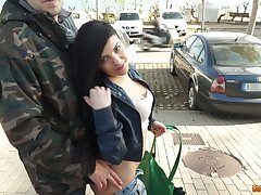 Lewd widely applicable Paula Teen is picked up and fucked at the end of one's tether pretty boy in the car