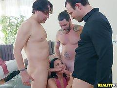 Hot nymph Amara Romani hardcore 4some porn clip
