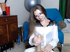 Awe-inspiring college girl Nikki in XXX glasses and close-fisted skirt