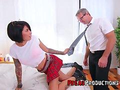 Work daddy can't resist having it away whorish step daughter in college uniform Jacki J