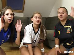 Rebecca Volpetti with the addition of other girls enjoy riding a cock together