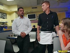 Slutty Anya Olsen seduces a waiter at a restaurant and pounds him