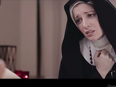 Sinful nun Mona Wales is ready to eat wet pussy properly at murkiness