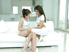 Amazing really charming lesbian Verona Sky thirsts for sensual lesbian sex