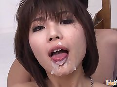 The brush pretty face is ruined by all that squirm semen - japanese