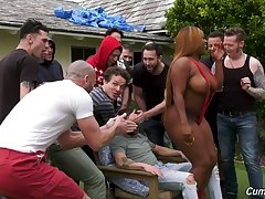 A guy's bachelor party leads to gangbang copulation with the addition of the bitch is so curvy