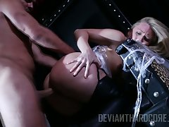 Melancholy piece of baggage AJ Applegate is tied up and punished by hot blooded dude