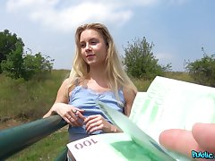 Outside making love and a blowjob are amazing with reference to horny blonde Alecia Fox