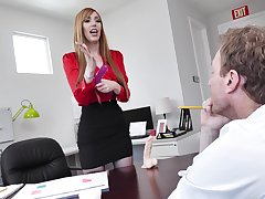 hot secretary Lauren Phillips adores sex nearby the brush colleague in the brush office