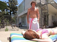 Cute stepsister Aria Sky gets intimate with horny stepbrother by the poolside