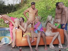 Julia Pink adores group sexual intercourse outside near Lana Vegas increased by horny neighbors
