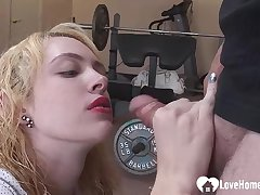 Flirtatious blond is in love with his dick