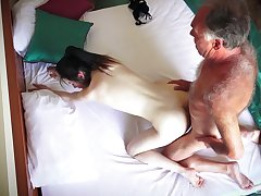 Hotel room spy cam records unskilled couple having amazing sexual connection
