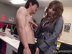 Hot secretary from Japan getting her fanny pleasured well