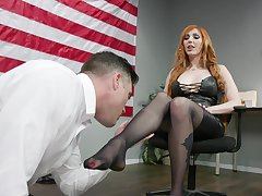 Sexy MP Lauren Phillips puts on strapon and fucks on submissive dude