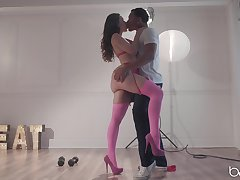 Romantic interracial love making on a catch floor with Lana Rhoades