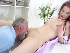 Sweet amateur leaves grandpa to fuck the brush pussy like a stuff and nonsense