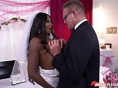 Interracial sex on the wedding fixture of ebony Diamond Jackson
