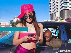 Petite Asian Elle Voneva hooks in the matter of all over a big black man all over strapping phallus