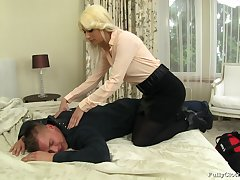 Blonde wife Yenna in dress fucked by her horny next entry-way neighbor